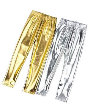 Dziecięce legginsy elastyczne 2-12Y spodnie Skinny Gold Kids kolor metalu z syntetycznej skóry dziecięce legginsy do występów kostiumy tanie i dobre opinie Octan spandex Stałe Gold and silver leggings REGULAR Pełnej długości Elastyczny pas Ołówek spodnie NONE Pasuje prawda na wymiar weź swój normalny rozmiar