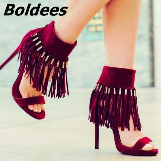 Sandalias con flecos hasta el tobillo de gamuza Borgoña elegante sandalias Sexy con punta abierta al tobillo con borla zapatos de tacón de aguja sandalias de vestir de moda nueva llegada