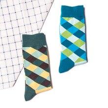 Зимние популярные хлопковые носки мужские клетчатые цветные хлопковые носки клетчатые Разноцветные Милые носки до лодыжки носки Мужская чулки 50
