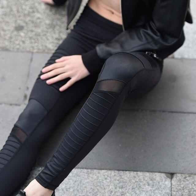 Women Elastic waistband Yoga pants with Mesh Panels High Waisted Moto Leggings in White Sport Yoga Leggings S/M/L P136