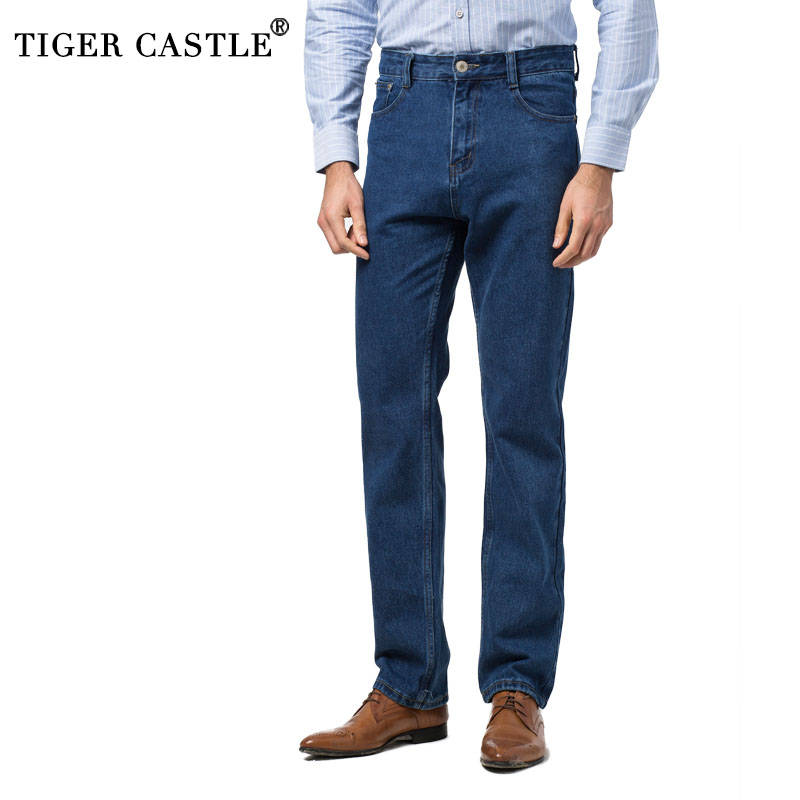 100% Cotton Mens Casual Jeans Pants Spring Autumn Male Long Blue Straight Denim Overalls Casual High Quality Reagular Fit Jeans mens casual blue jeans denim multi pocket loose outdoor straight legs cargo pants