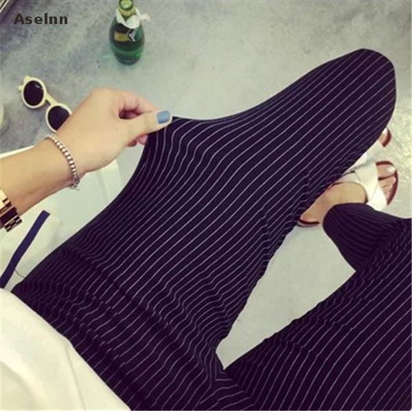 Aselnn Spring&summer New Fashion Women Vertical Striped Pants Female Pencil Ankle-length Pants White Black Pants