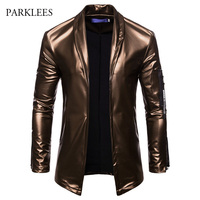 PU Leather Suit Blazer Men 2018 Luxury Gold Solid Color Blazers Jacket Mens Casual Slim Fit Cardigan Nightclub DJ Stage Costumes