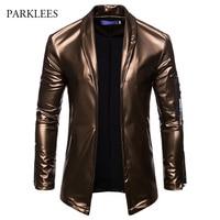 PU Leather Suit Blazer Men 2018 Luxury Gold Solid Color Blazers Jacket Mens Casual Slim Fit Cardigan Nightclub DJ Stage Costumes