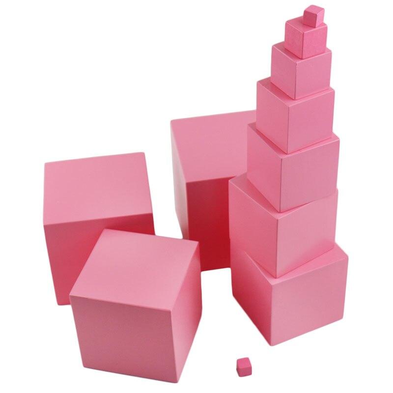 Jouets Montessori en bois bébé 0.7-7 Cm rose tour solide Cube en bois début préscolaire Montessori maths jouets pour enfants garçons B846T