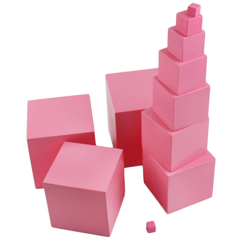 Wooden Montessori Toys Baby 0.7-7Cm Pink Tower Solid Wood Cube Early Preschool Montessori Math Toys For Children Boys B846T baby wood building blocks chopping wooden block children education montessori tower set baby toys oyuncak