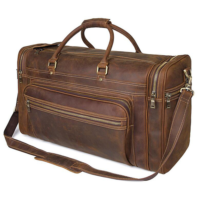 ANAPH Holdall/ Genuine Leather Bag For Men In Brown/ Large Men's Weekender Travel Duffle Bags 23 Inch/ Carry On Luggage 3