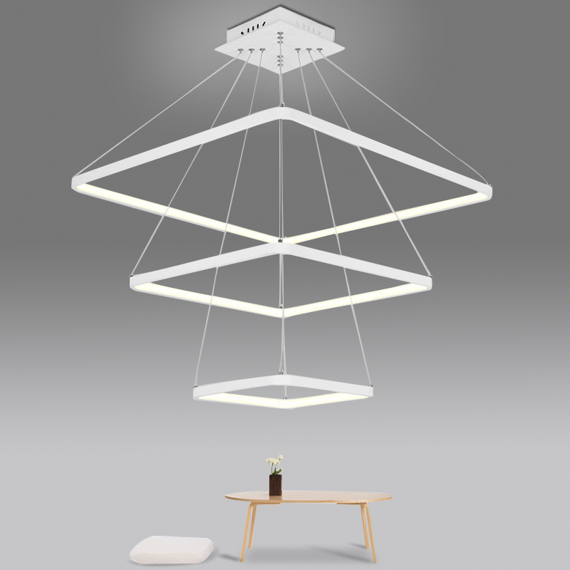 A1 Modern simple square dining room Pendant Lights office front lighting bedroom living room creative LED Pendant lamps FG97 stylish multilayer pu leather tassel pendant necklace for women