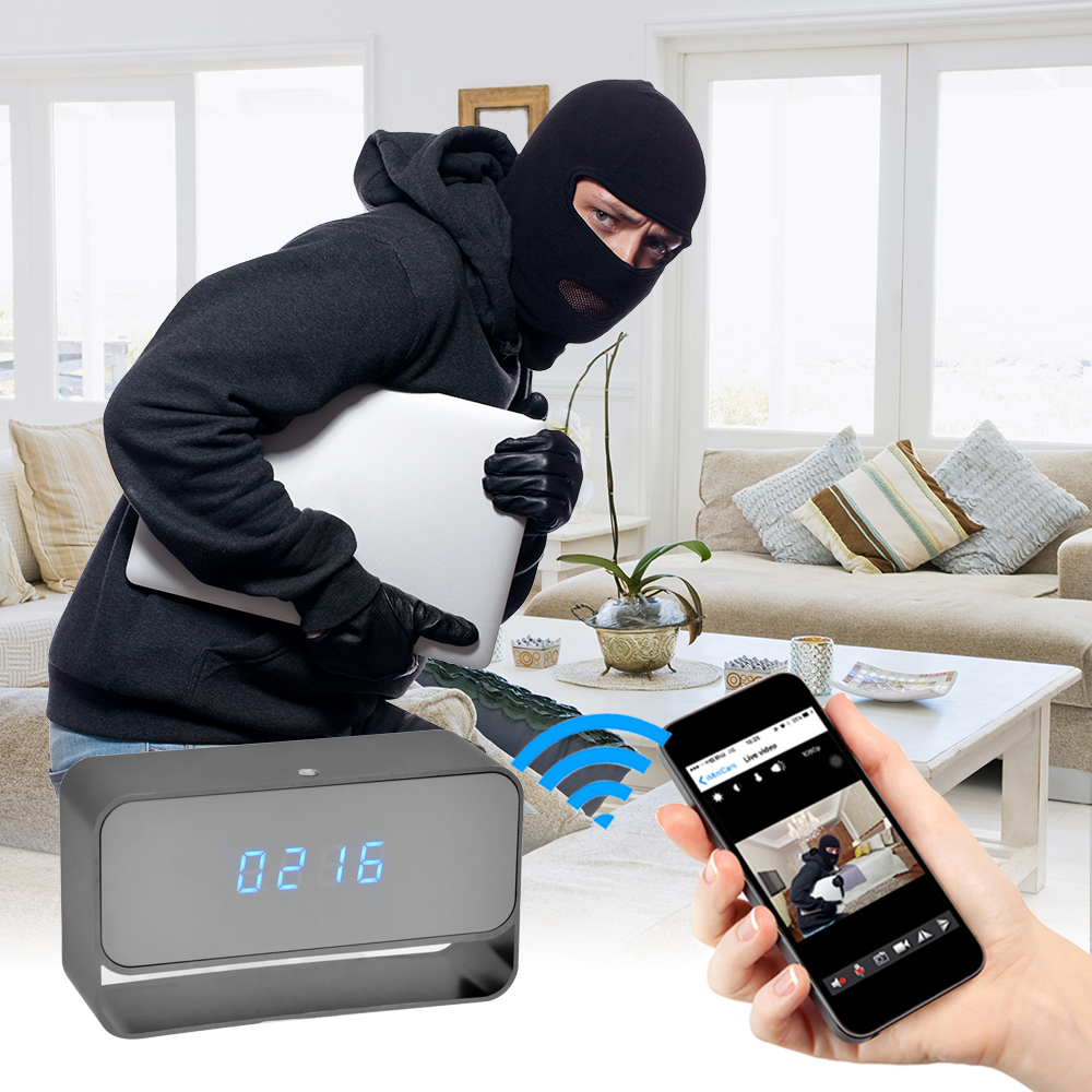 WIFI Mini Camera 1080P Time Alarm CCTV Home Security Clock Wireless Nanny IP Camera P2P IR light Night Vision Motion Detection (4)