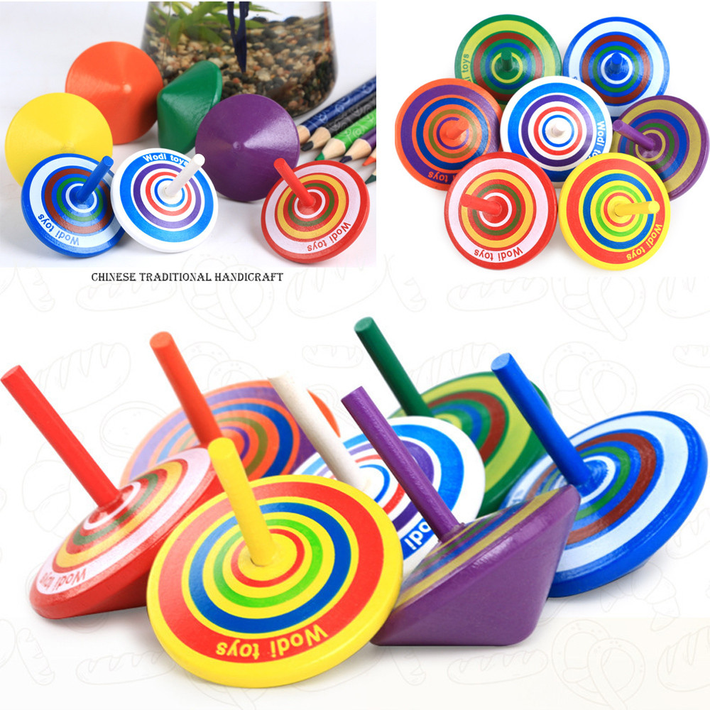 Colorful Funny Handmade Painted Wood Spinning Tops Wooden  Educational Toys funny Educational Toys For Children