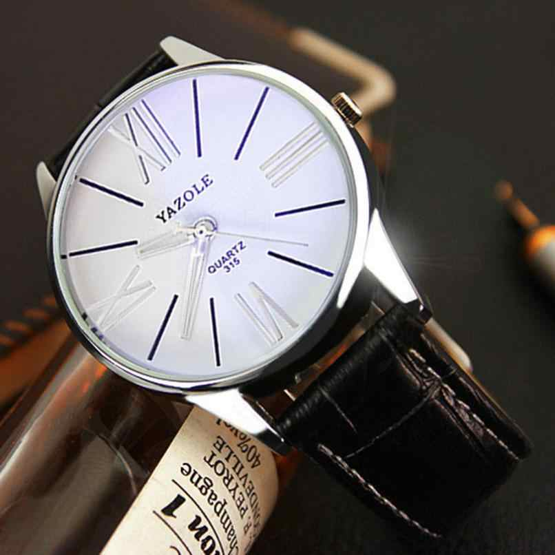 Relógio de Forma dos homens Moda de Luxo de Couro Dos Homens De Vidro De Quartzo Analógico Relógio de Pulso Relógios drop shipping 2018JUL12