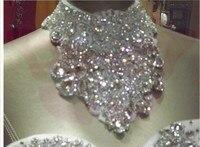2017 jakości musujące kryształ luksusowe diament suknia ślubna rura górna banda 0.5 ~ 1.5 metr królewski pociąg suknia ślubna panny młodej TK348