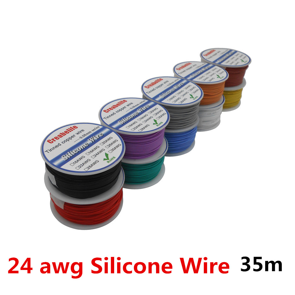 35m/lot 24 <font><b>AWG</b></font> Flexible Silicone <font><b>Wire</b></font> 10 Colors RC Cable Line With Spool OD 1.6mm Tinned Copper <font><b>Wire</b></font> Electrical <font><b>Wire</b></font> image