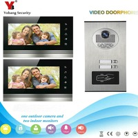 YobangSecurity 2 Apartment Wired Video Door Phone Intercom 7 Inch Monitor IR Camera Video Doorbell Intercom