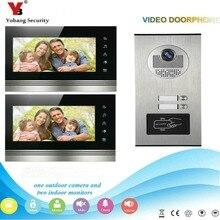 YobangSecurity 2 Apartment Wired Video Door Phone Intercom 7″Inch Monitor IR Camera Video Doorbell Intercom Kit Supprt RFID Card