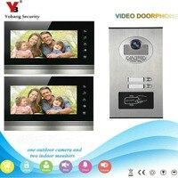 YobangSecurity 2 Apartment Wired Video Door Phone Intercom 7 Inch Monitor IR Camera Video Doorbell Intercom