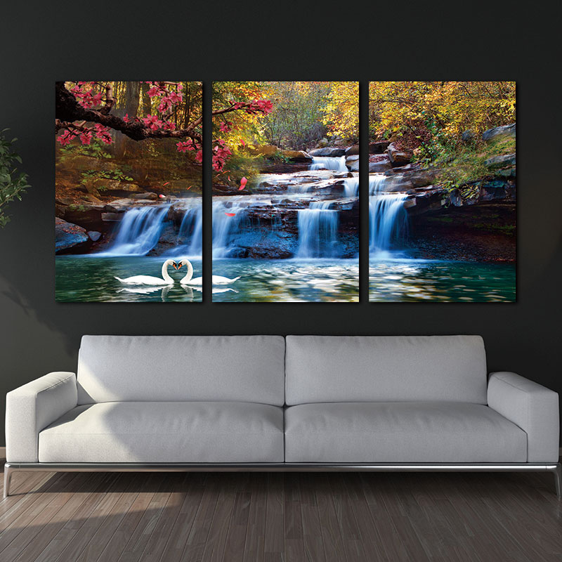 3 Piece NO Framed Canvas Photo Prints Waterfall Woods Swan Home Office Artwork Paintings Home Decor Canvas Wall Art Paintings no frame canvas