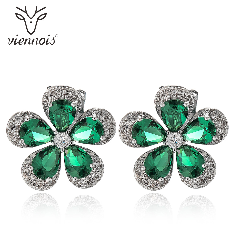 Viennois Flower Stud Earrings For women Green/ Black/ Red Color Zircon Earrings Fashion Jewelry copper jewelry leopard head hanging pearl stud earrings tiger head green rhinestone black stud earrings for women