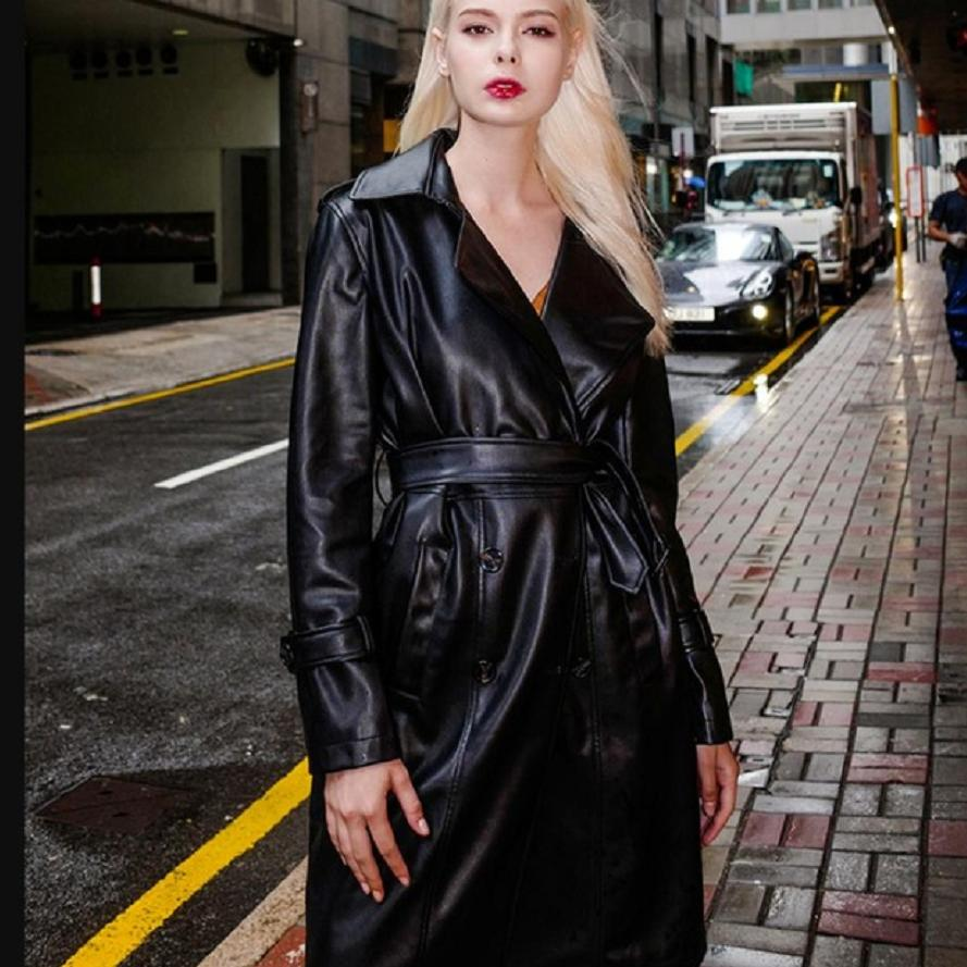 PU   Leather   women's coat long section 2018 autumn new retro slim was thin PU   leather   jacket ladies windbreaker outwear L1287