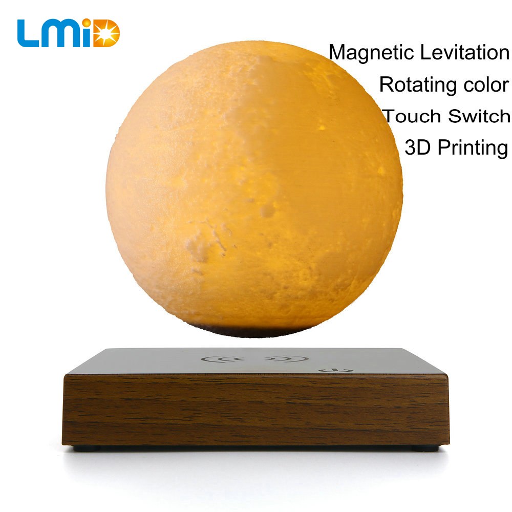 LMID 12CM 3D Moon Lamp Magnetic Levitation Floating Touch Night Light Lamp Bedroom Bookcase Night Light Home Decor цены онлайн