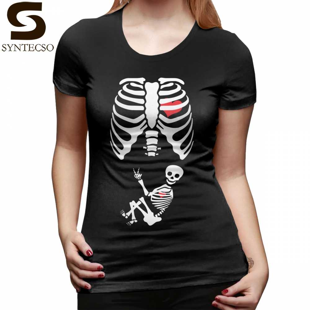 1c2a4320793b2 Pregnant Skeleton T-Shirt Halloween X Ray Maternity Pregnant Costume T Shirt  Cotton Orange Women