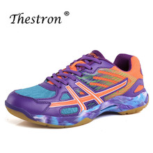 Thestron Couples Badminton Shoes Rubber Bottom Mans for Sports Anti-slip Comfortable Court Sneakers Green Tennis