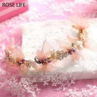 Bridal Mesh Handmade Butterfly Bride Hair BAnds Sweety Hair Jewelry Baroque Style Gold Leaf White Flower