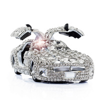 Gullwing Sportscar Car Dashboard Ornament Bling Bling Crystals Perfume Stand Auto Air Freshener Decoration Accessories White