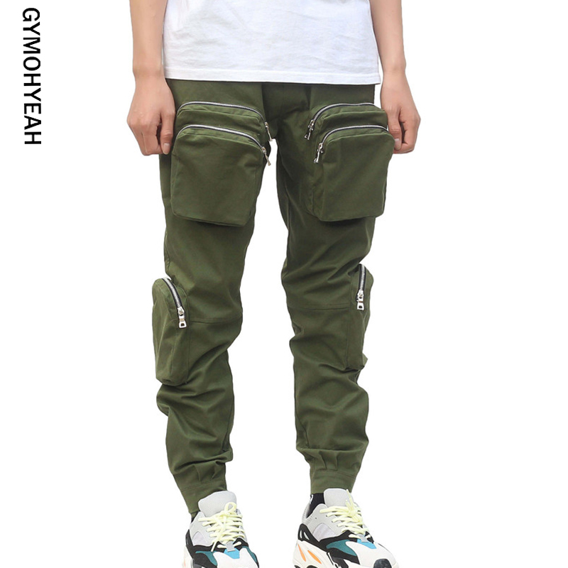 GYMOHYEAH Brand 2019 NEW Cargo Pants Men Pockets Solid Zipper Joggers Homme Casual Sweatpants Male Fashion Pants