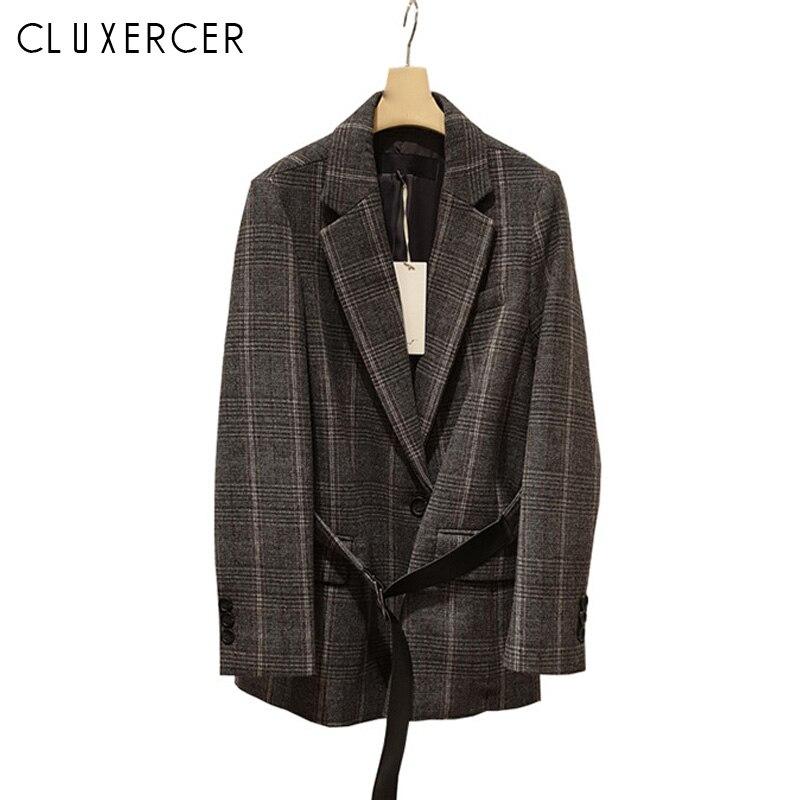 긴 블레이저 여성 2019 새로운 빈티지 격자 무늬 슬림 여성 블레 이저 및 재킷 패션 벨트 블레 이저 femme-에서블레이저부터 여성 의류 의  그룹 1
