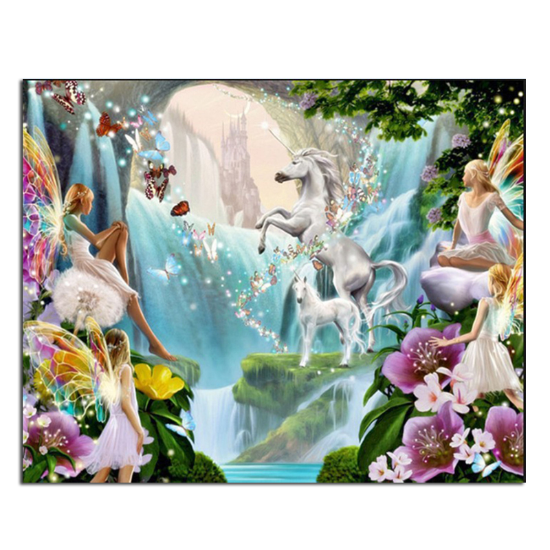 fairy tale horse 60x48 Basket of diamond painting kits square drill diamond rhinestone pasted painting unfinish room decoration