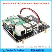 """ラズベリーパイ 2.5 """"sata hdd/ssd ストレージ拡張ボード、 x820 V3.0 usb 3.0 モバイルハードディスクのためのラズベリーパイ 3 モデル b +/3B"""