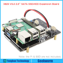 "Placa de expansión de almacenamiento Raspberry Pi 2,5 ""SATA HDD/SSD, módulo de disco duro móvil X820 V3.0 USB 3,0 para Raspberry Pi 3 Modelo B +/3B"