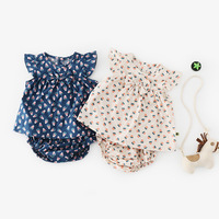 2pcs Newborn Baby Girls Rompers Summer Cotton Print Ruffle Sleeve Jumpsuit Toddler Dress Kids One pieces Clothes sets Outfits