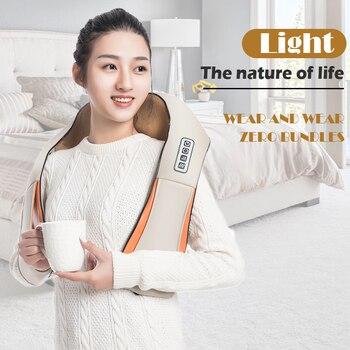 Home Car Electrical Infrared 4D Back Massager U Shape Shiatsu Back Neck Shoulder Body Massager Infrared Heated Kneading Massage
