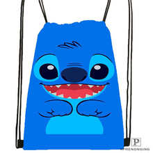 Custom Lilo-Stitch-Happy Drawstring Backpack Bag Cute Daypack Kids Satchel (Black Back) 31x40cm#180612-02-3