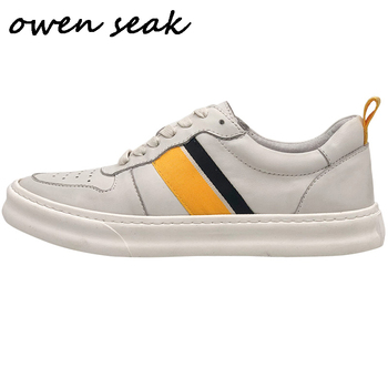 Owen Seak Men Casual Shoes Luxury Trainers Genuine Leather Lace Up Sneakers Spring Boots Brand Flat White Shoes