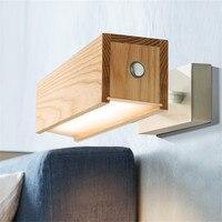 Современный поворот Бра затемнения светодиодный настенный светильник древесины сенсорный выключатель прикроватные тумбочки, настенные с