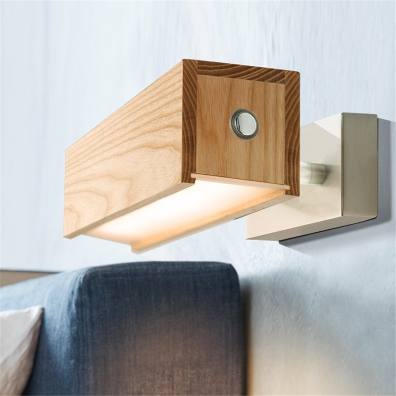 Modern Rotate Wall Sconce Dimmable LED Wall Lamp Wood Touch Switch Bedside Wall Light Fixtures Home Lighting Lampara Pared simple creative fabric wall sconce band switch modern led wall light fixtures for bedside wall lamp home lighting lampara pared