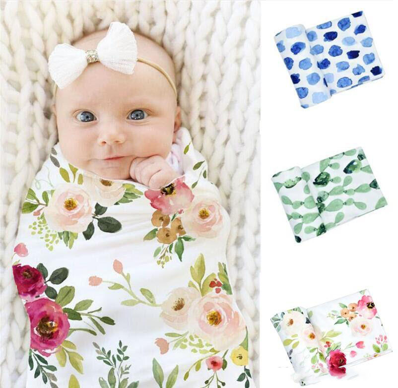 Baby Swaddle Wraps Floral Print Baby Blankets Wraps Infant Oversized Swaddle Blanket Super Soft Baby Lovey Blankets 6 designs 80