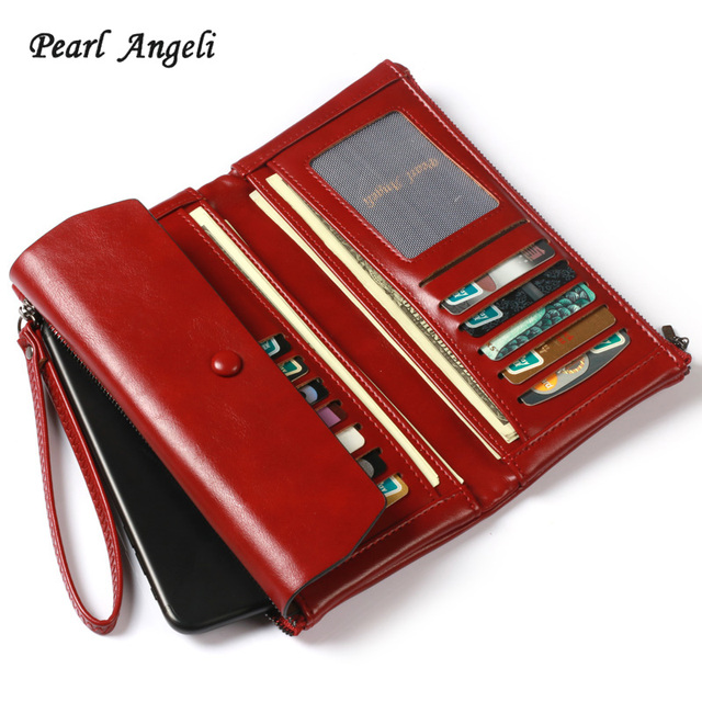 Pearl Angeli Red Wallet Female Wristlet credit Cards Phone Holders Money Purse  Long Clutch For Womens 8ff5a11041da