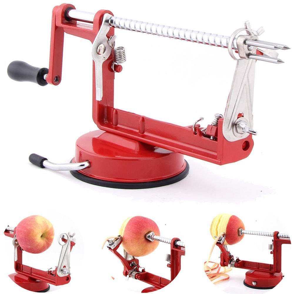 Fruit Apple Peeler Corer Slicer Slinky Machine Aardappelsnijder Kitchen Tool 3 in 1 (rood) (00153)