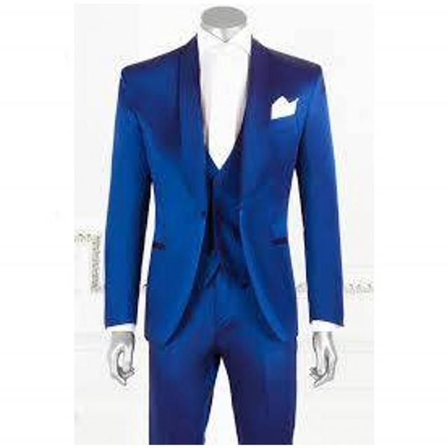Envío libre para hombre trajes de Diseño Simple Azul Hombre Trajes Esmoquin Muesca Solapa Del Padrino de boda de Los Hombres Trajes de Boda