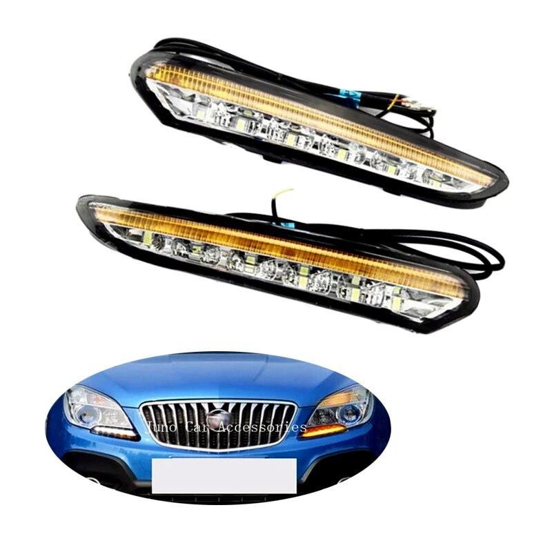 Дневного света для Buick бис 2012 2013 2014 2015 LED дневного света DRL дневного света с поворотом сигнала 2шт