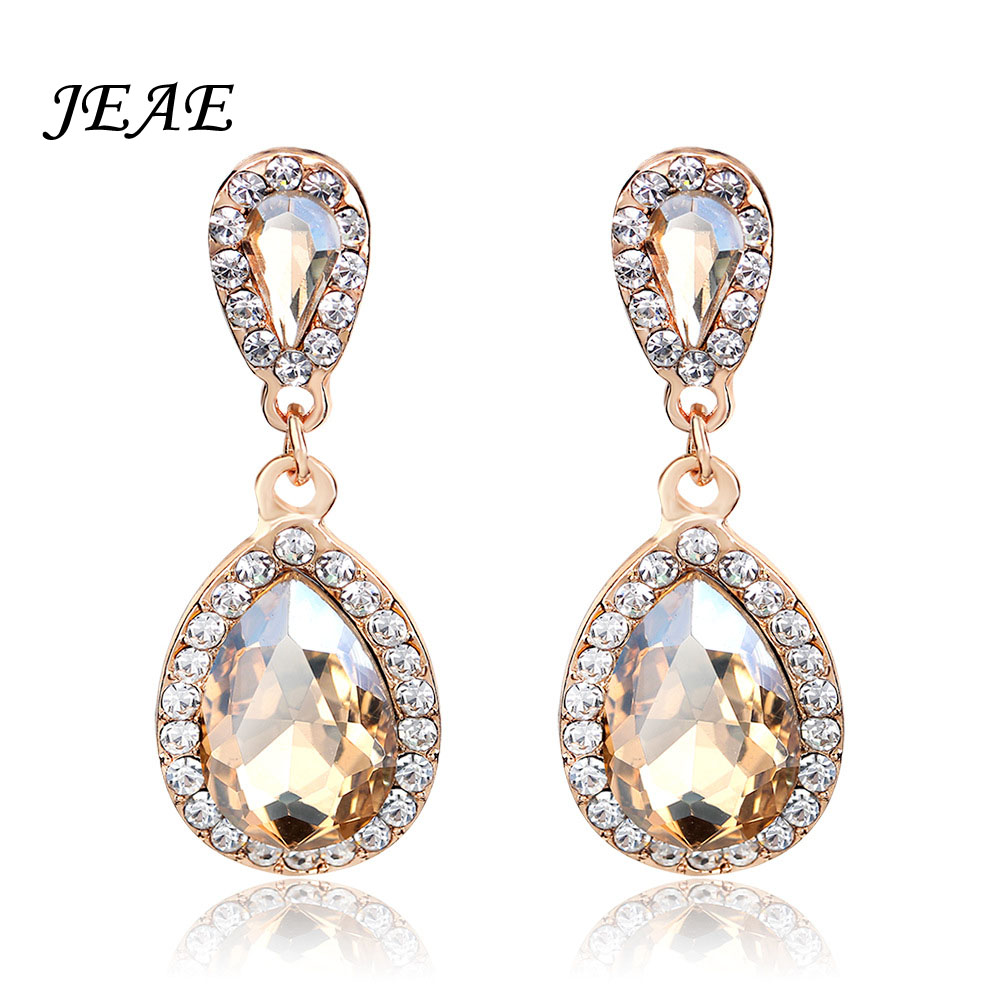JEAE Fashion Teardrop Champagne Crystal Wedding Long Drop Earrings Gold Elegant Bridal W ...
