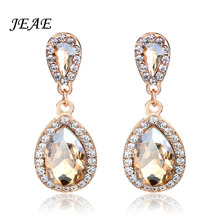 JEAE Fashion Teardrop Champagne Crystal Wedding Long Drop Earrings Gold Elegant Bridal Wedding Engagement Jewelry Accessories