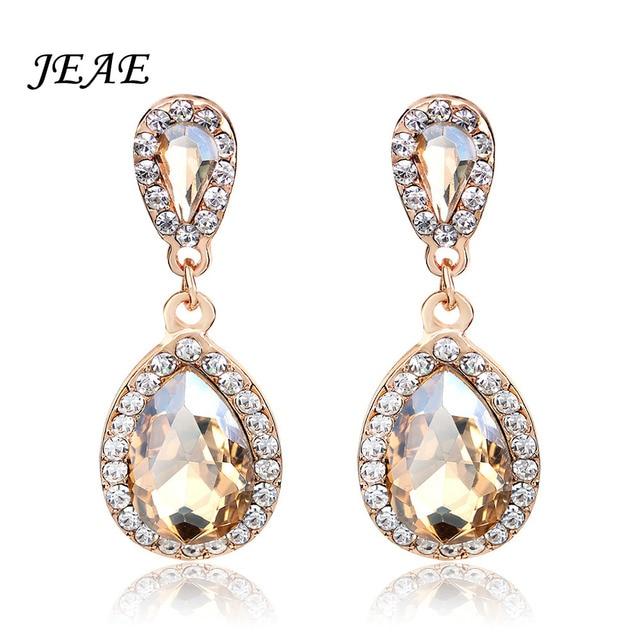 Teardrop Champagne Rhinestone Crystal Wedding Earrings Long Drop Gold Cubic Zirconia Women Bridal Jewelry