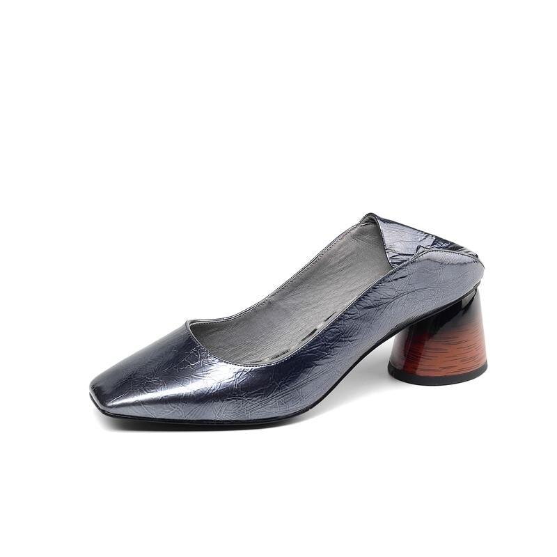 Image 4 - ALLBITEFO/Высококачественная женская обувь из натуральной кожи на каблуке; Весенняя модная пикантная женская обувь на высоком каблуке с квадратным носком; обувь на высоком каблуке-in Женские туфли from Обувь