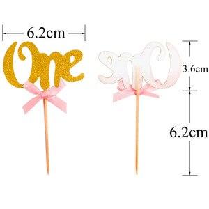 Image 4 - Heronsbil 10 pcs 첫 번째 생일 반짝이 종이 1 컵케익 toppers 1 생일 파티 장식 내 1 년 아기 소년 소녀 용품