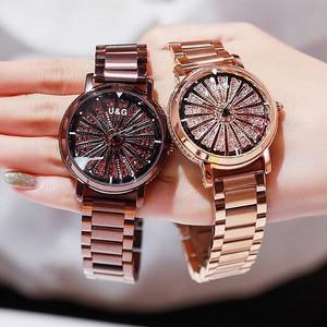 Image 3 - Женские кварцевые часы, вращающиеся по супер технологии, со стразами, из нержавеющей стали